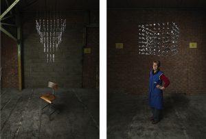 Les ouvriers, perdus dans leurs pensées, envisagent l'espace sous un autre angle. Ils dévisagent le quotidien avec un peu de poésie. 140 x 120 cm, 2013.