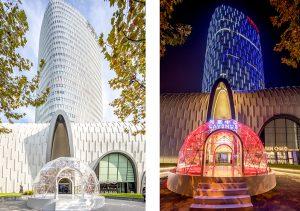 Cerise Doucede a créé trois installations. Cerise Doucède revisite le thème de l'arche avec une première création baptisée « Christmas Arch » en plexiglas transparent maintenue par une structure blanche légère. L'oeuvre invite le spectateur à s'immerger dans la magie de l'instant..
