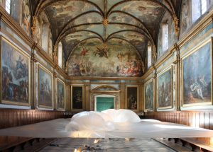 2015 – Emilie Faïf designed a tailor-made installation for the Carmelite's Chapel in Toulouse. Her work echoes the sumptuous ceiling made of painted wood.