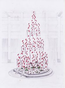 """Sketch of the project """"A Year of Something New"""" for Landmark Hong Kong.  William Amor's wishes to alert the visitors about their consumption of thrown materials, which produce a lot of pollution."""