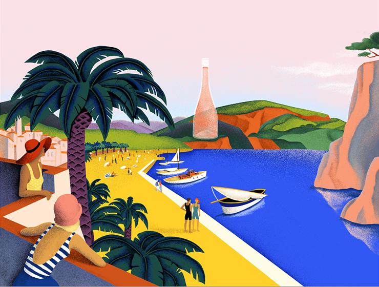Ich&Kar dessine l'identité visuelle du Roséternel ainsi que le site web de la nouvelle marque. Le graphisme met en exergue toutes les valeurs de la riviera – volupté, farniente, liberté, soleil et festivités -, dans des illustrations et un logo qui reflètent l'ADN de la marque.