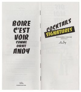 Avril 2018-une carte de cocktails comme un fanzine à l'Andy Wahloo.