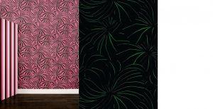Papier peint «Berlingot», Collection Phosphowall – papier peint à encre phosphorescente. Ich&Kar's Phosphowall a été élu lauréat du Wallpaperlab 2008