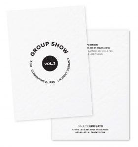Février 2018 – Collection de cartons pour la Galerie Eko Sato – Des cartons d'invitation comme fil conducteur de l'identité parce que ce sont les artistes qui font l'image d'une galerie !