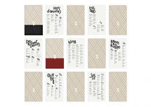 <p>Identité visuelle du restaurant Cadet à Santa Monica en Californie.</p> <p>Un menu composé de cartes insérées dans une pochette effet cuir.</p>