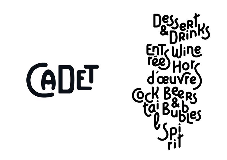 <p>Identité visuelle du restaurant Cadet à Santa Monica en Californie.</p> <p>Une typographie dessinée sur mesure, inspirée des carnets de cartes postales d'antan.</p>