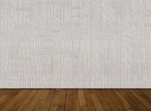 Le matériau et la couleur unie font résonner et pérennisent cet état de jubilation. <p>Le Mur des Jubilations, Biennale du Design de Saint-Etienne, 2013.</p>