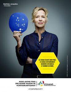 Campagne lancée par le FNCPA (Fonds National de Promotion et de Communication de l'Artisanat) : «Nous avons tous une bonne raison de #choisirlartisanat». 2015