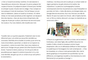Interview de Mathilde Jonquière par l'illustratrice Cassandre Montoriol ; textes de Marie-Anne Bruschi.
