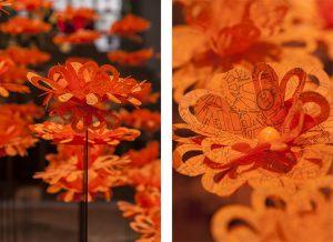 Installation «Fleurs de Paris» au Royal Monceau du 1er septembre au 2 octobre 2014 à l'occasion de la Paris design week