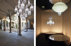 Soline d'Aboville invite les visiteurs à pénétrer dans une histoire composée de tableaux lumineux successifs, un parcours initiatique dans l'univers d'une marque incarnée par les personnalités éclectiques de huit grands designers.