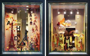 Été 2016 – Pour l'arrivée du printemps, les vitrines de la Maison Chaudun se renouvellent : une nature poétique envahit les vitrines et sert d'écrin aux créations de la Maison pour les fêtes de Pâques.