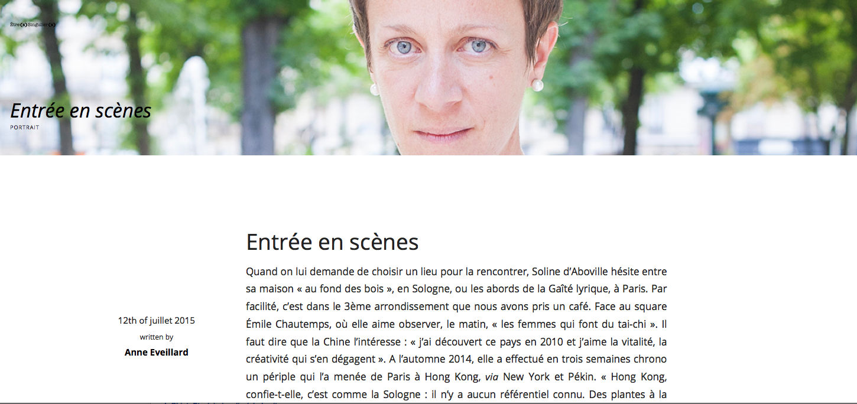Portrait of Soline d'Aboville written by Anne Eveillard for «Êtres singuliers», July 2015.