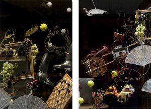 2016 – RELAIS & CHÂTEAUX – Boutique Opéra. Des homards-musiciens aux danseuses-tire-bouchon, du dragon chinois à l'éventail espagnol, l'ensemble des objets choisis parmi les thèmes du voyage, de la gastronomie ou des loisirs, constitue une échappée-belle au cœur d'un songe soutenu par le travail en dessin du premier plan. ©Géraldine Brunel