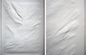 Angèle Guerre, plasticienne, 2019, «Tendre Texte», dimensions 1m35 x 2m50. Papiers incisés au scalpel. Tendre texte reproduit instinctivement des gestes immémoriaux. Tailler, couper dans la masse, piquer, ce sont aussi des gestes de couturière ou de relieur : un travail d'écrivain. Le dessin s'aborde comme un artisanat où s'invente une écriture.
