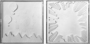 2017 – GIVAUDAN DELIGHT – Cette installation est destinée à faire vivre une expérience immersive aux clients de Givaudan. Pour l'occasion, 7 films inédits sont réalisés, illustrant les 7 univers olfactifs Delight projetés sur autant de planches en papier blanc découpés au laser de motifs rappelant les senteurs. Planches composant le Cube Delight et représentant les 7 univers olfactifs.