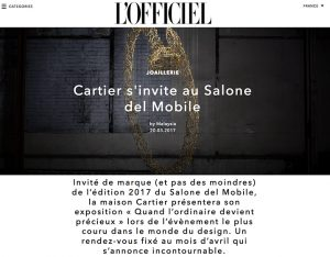 L'OFFICIEL ITALIE – Juste un Clou / Ecrou, Cartier. April 2017