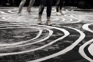 October 2017 -  LET'S FOLK! Show- In collaboration with the choregrapher Marion Muzac. The ornamental designs drawn on the floor with traditional White Meudon, tension the dance during the show. Over the footsteps, the drawings progressively blur to create a new geography, which will give witness to the strenght and the beauty of those collective human meeting.