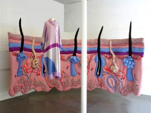 "Emilie Faïf, visual artist, September 2011, textile installation ""Under the Skin"" for the windows of Tsumori Chisato, Paris."