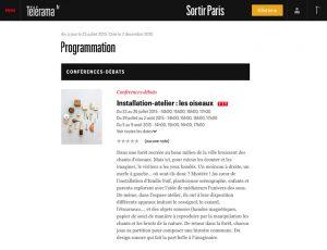 """Exhibition """"Les Oiseaux"""" de Emilie Faïf, Télérama, July 2015"""