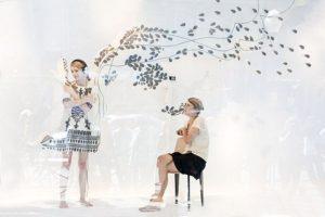 """Emilie Faïf, visual artist, May 2007, installation """"Outgrowth"""", interview with Isabel Marant for Paris Première TV, Printemps Haussmann, Paris. © Françis Peyrat"""