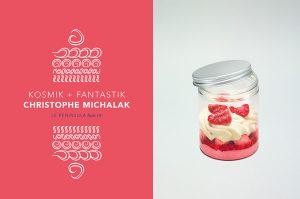 'Crème de la Crème : European cream and European pastries'. Kosmik, raspberry and liquorice by Christophe Michalak.