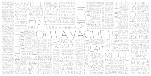Design of a wall of words for the exhibition « Oh la Vache ! » – Milk Factory.