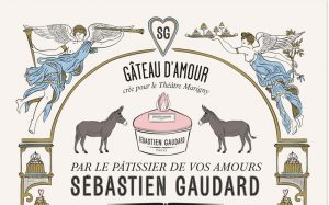 December 2018 : during the show Peau d'âne at the Marigny Theater in Paris, Sébastien Gaudard is cooking his famous Love Cake ! Ich&Kar drew a custom-made poster for him, with a very special graphic design full of love !