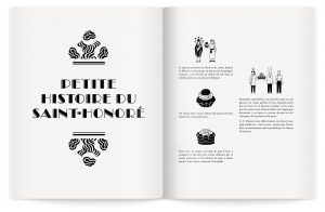 Ich&Kar's illustrations of desserts live colorfully along with Jean-Jacques Pallot's photographs.