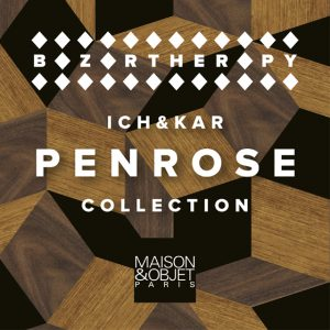 Ich&Kar found inspiration in Penrose cobblestones and infuse geometric elegance into their furniture, trays and totebags design.