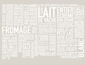 Design of a wall of words for the exhibition « Les Mots du Lait » – Milk Factory.