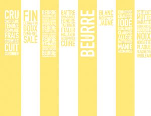 "Design of a wall of words for the exhibition "" Butter, Butter, Butter "" – Milk Factory"