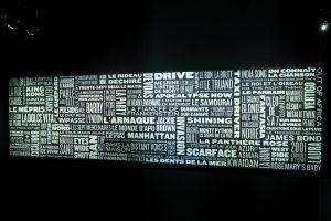 Design of a wall of words for the exhibition « Musique and Cinema » – Cité de la Musique, Paris.