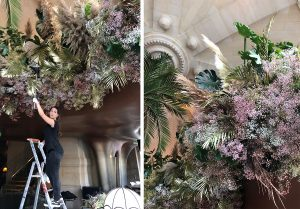 Marianne Guedin, vegetal installation, September 2021, CoCo restaurant at the Opéra Garnier, Paris. Creation of clouds of flowers and leaves inspired by Gatsby le Magnifique.