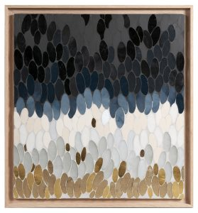 "May 2019. Auction Sale ""Material & Manner"" in Drouot Estimations Paris. On this occasion, Mathilde Jonquière presents the artwork ""Plume"" mosaic of artisanal glass enamels, porcelain stoneware, gold tesserae."