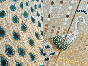 Mathilde Jonquière, mosaic artist, may 2019, Cartier Serrano store, Madrid. The peacock, living in Campo del Moro Royal Garden, reminds of the timeless figure of a woman confident in her nobility, the royal city and gardens, and Cartier's jewellery collections.