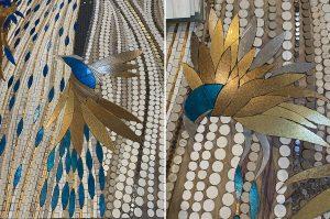 Mathilde Jonquière, mosaic artist, March 2021, mosaic fresco, 6m x 1,60m, Méduses & Oiseaux, Paris, work in progress.