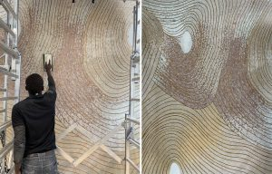 Mathilde Jonquière, mosaic artist, July 2021, work in progress , Vinci Immobilier Résidence, Maison Saint Charles