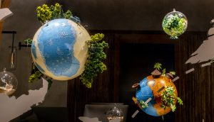 Soline d'Aboville, scenographer, april 2019, Creating Delicious Journey, Relais & Châteaux store, Paris. Each planet tells the story of a place in R&C network and suggests the magic that occurs in the eyes of the guests, creating the occasion of an unforgettable experience, of a «delicious journey».