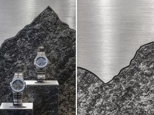 Soline d'Aboville, scénographer, October 2019, Alpine Eagle, Chopard windows, Paris. The polished steel of the signature and of the Bernina mountain's outline contrasts with the brushed steel of the background; the black stone, mat and raw, contrasts with the sophistication of the watches. © Géraldine Bruneel