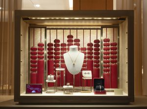 Soline d'Aboville, scenographer, January 2020, Chinese New Year,  Cartier windows, Milano.