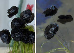 "Flowers ""Papaver Roeas Pollutea Nigra"". Upcycling artist."