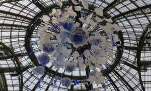 William Amor, upcycling artist, Revelations fair, Grand Palais, Paris, May 2019. Suspended installation