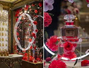 William Amor, upcycling artist, floral creation for the launching of Mon Guerlain, Bloom of Rose fragrance, March 2020. Guerlain windows of 68, Champs-Elysées store. William Amor pays tribute to the rose by the sublimation and ennoblement of plastic bags and bottles, fishing nets and ropes, coffee capsules.