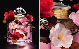 William Amor, upcycling artist, creation of a floral ornament for the Prestige edition of the fragrance Mon Guerlain, Bloom of Rose, September 2020. William Amor was inspired by the composition of the fragrance to create the ancient rose damascena and a variety of rosehip. Imaginary flowers, peduncles and rosebuds were added. The color of the fragrance finds a sublimated echo in the work of William Amor and its pink and red monochrome. Eco-designed with non-reclaimed materials, the flowers are created from recycled plastic bags.