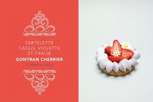 Tartelette cassis, violette et fraise par Gontran Cherrier.