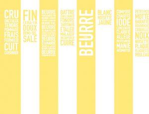 Création d'un mur de mots pour l'Exposition » Beurre, Beurre, Beurre » – Milk Factory