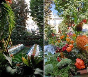 Marianne Guedin, scénographie végétale, «Jungle», septembre 2021, hôtel particulier, Paris. En jouant les trompes l'œil, les palmes et les fleurs emportent le spectateur dans l'univers du Douanier Rousseau.