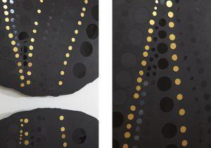 Depuis plusieurs années, Mathilde Jonquière fait du béton son matériau de prédilection et révolutionne les canons de l'art de la mosaïque et se joue habilement du rapport de valeur entre le mat et le brillant, le fade et le coloré, le vide et le plein.