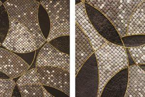 Le défi a été de relier chaque zone par un motif commun : des cercles entrelacés composés de tesselles d'un camaïeu de couleurs symbolisant les produits exposés. Le Bon Marché – Le Luxe.